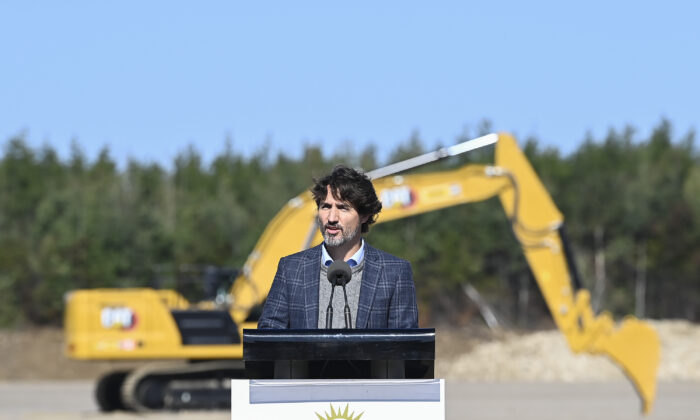 Canadian Prime Minister Justin Trudeau speaks while taking part in a ground breaking event at the Iamgold Cote Gold mining site in Gogama, Ont., on Sept. 11, 2020. (The Canadian Press/Nathan Denette)