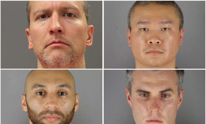 Former Minneapolis police officers (clockwise from top left) Derek Chauvin, Tou Thao, Thomas Lane, and J. Alexander Kueng pose in a combination of booking photographs from the Minnesota Department of Corrections and Hennepin County Jail in Minneapolis, Minn. (Minnesota Department of Corrections and Hennepin County Sheriff's Office/Handout via Reuters)