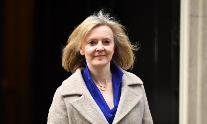 Liz Truss, Secretary of State for International Trade, leaves 10 Downing Street in London on Feb. 13, 2020. (Leon Neal/Getty Images)