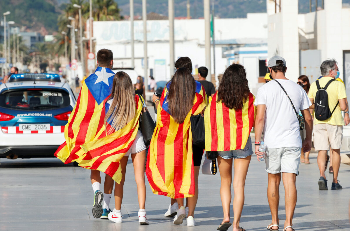 Pro-independence protesters rally during Catalonia's day of 'La Diada' in Badalona