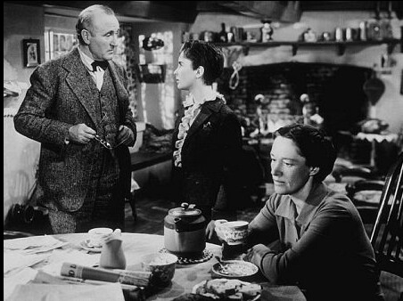 """father speaking with daughter, mother listens, in """"National Velvet"""""""