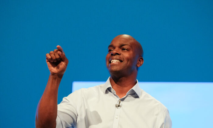 Shaun Bailey, Conservative candidate for Mayor of London, delivers a speech on the third day of the Conservative Party Conference at Manchester Central in Manchester, England, on Oct. 1, 2019.