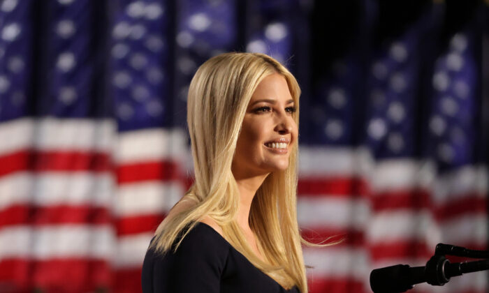 Ivanka Trump, daughter of U.S. President Donald Trump and White House adviser, addresses attendees as Trump prepares to deliver his acceptance speech for the Republican presidential nomination on the South Lawn of the White House in Washington on Aug. 27, 2020. (Alex Wong/Getty Images)
