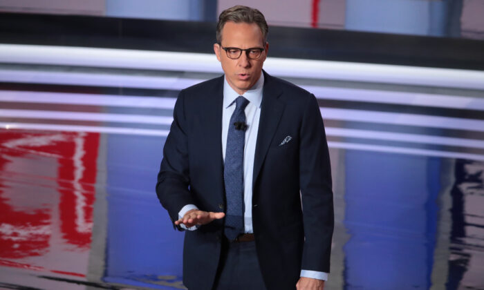 CNN moderator Jake Tapper speaks to the audience during a Democratic primary debate in Detroit, Mich., on July 31, 2019. (Scott Olson/Getty Images)