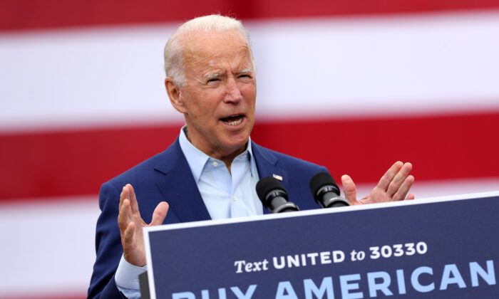 Democratic presidential nominee and former Vice President Joe Biden delivers remarks in Warren, Mich., on Sept. 9, 2020. (Chip Somodevilla/Getty Images)