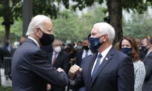 Pence and Biden Greet Each Other at Sept. 11 Memorial