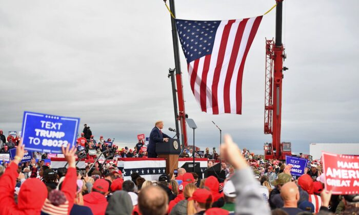President Donald Trump addresses supporters during a campaign rally at MBS International Airport in Freeland, Mich., on Sept. 10, 2020. (Mandel Ngan/AFP via Getty Images)