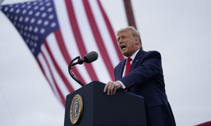 President Donald Trump speaks during a campaign rally at MBS International Airport in Freeland, Mich., on Sept. 10, 2020. (Evan Vucci/AP Photo)