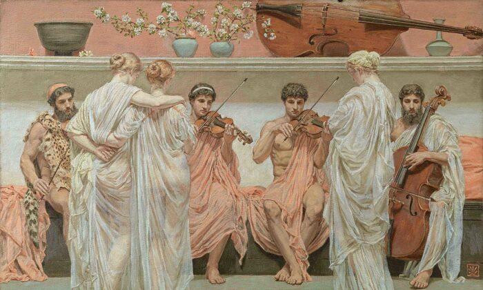 """""""The Quartet, a Painters Tribute to Music,"""" 1868, by Albert Joseph Moore. Juan Antonio Pérez Simón Collection. (Public Domain)"""
