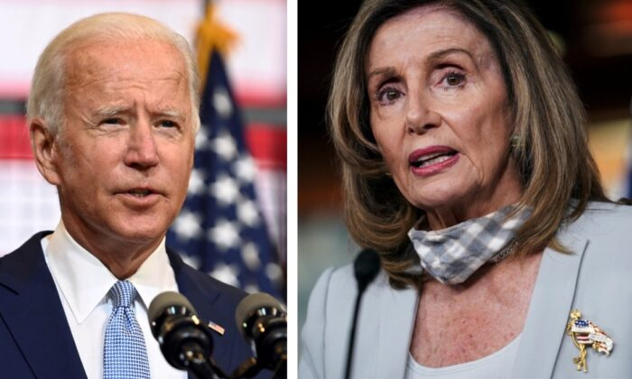(L) Democratic presidential nominee Joe Biden speaks at a campaign event in Pittsburgh, Penn., on Aug. 31, 2020. (Alan Freed/File Photo, Reuters). (R) House Speaker Nancy Pelosi (D-Calif.) speaks at a news conference in Washington, on Aug. 13, 2020. (Sarah Silbiger/Reuters)