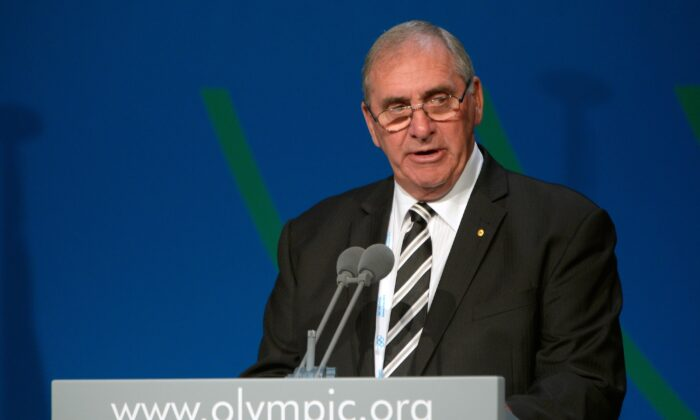 World Anti-Doping Agency (WADA) President John Fahey delivers his speech during the 125th session of the International Olympic Committee (IOC)  in Buenos Aires on Sept. 9, 2013. (Fabrice Coffrini/AFP via Getty Images)