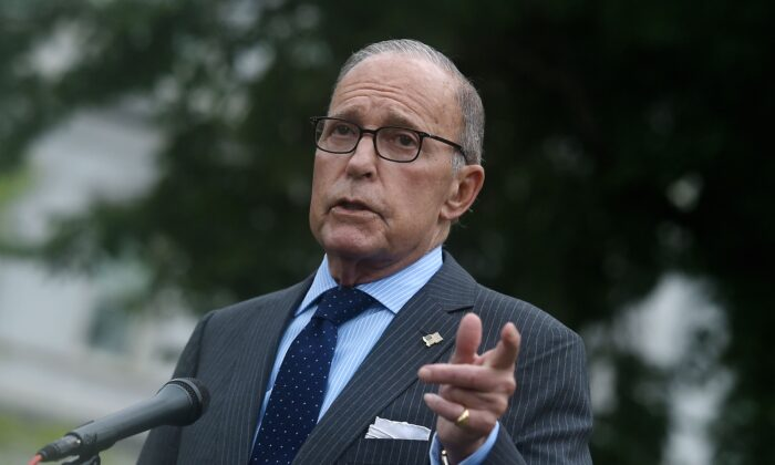 Director of the National Economic Council Larry Kudlow speaks to reporters outside the West Wing of the White House in Washington, on Sept. 2, 2020. (Olivier Douliery/AFP via Getty Images)