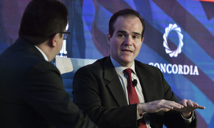 Mauricio Claver-Carone (R) attends the conversation 'Trump Administration Priorities in the Americas' at the 2019 Concordia Americas Summit in Bogota on May 14, 2019. (Gabriel Aponte/Getty Images for Concordia Summit)