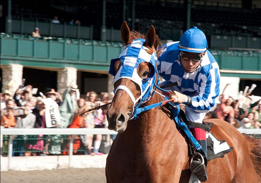 """Jockey riding horse in """"Secretariat"""""""