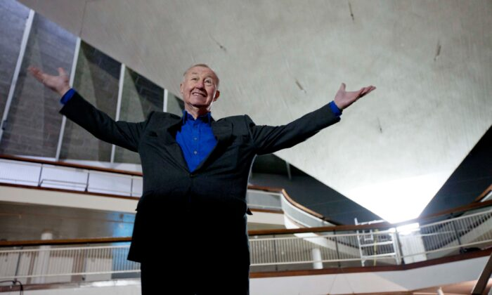 British designer and museum founder Sir Terence Conran poses for photographs during a media event to unveil plans for the new British Design Museum in London, on Jan. 24, 2012. (Matt Dunham/AP Photo)