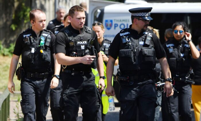 Police officers in England, on June 23, 2020. (Photo by Ben Stansall/AFP via Getty Images)