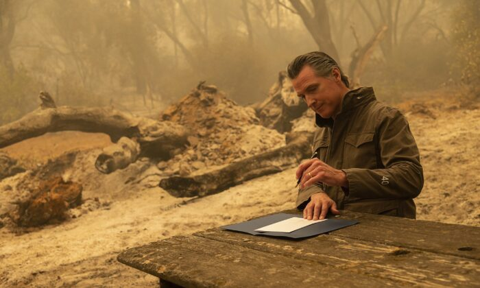 California Gov. Gavin Newsom signs Assembly Bill 2147 after he toured the North Complex Fire zone with California Secretary for Environmental Protection Jared Blumenfeld and California Secretary for Natural Resources Wade Crowfoot in Butte County outside of Oroville, Calif., on Sept. 11, 2020. (Paul Kitagaki Jr./Pool/The Sacramento Bee via AP)
