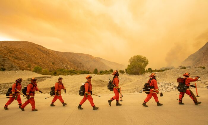 Inmate firefighters arrive at the scene of the Water fire, a new start about 20 miles from the Apple fire in Whitewater, Calif., on Aug. 2, 2020. (Josh Edelson/AFP via Getty Images)