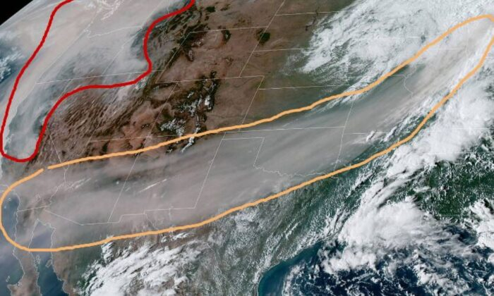 The National Weather Service Weather Prediction Center published an image showing West Coast smoke reaching Michigan (National Weather Service Weather Prediction Center)