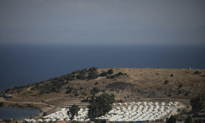 A general view of the temporary camp for migrants near Mytilene town, on the northeastern island of Lesbos, Greece, on Sept. 13, 2020. (Petros Giannakouris/AP Photo)