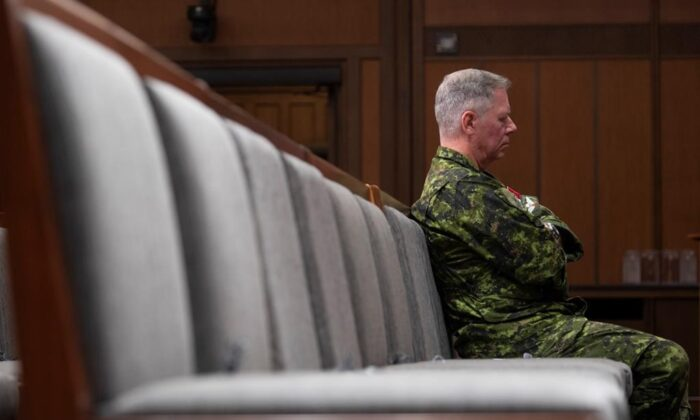 Chief of Defence Staff Jonathan Vance sits in the front row during a news conference on June 26, 2020 in Ottawa. The federal Liberal government is reportedly racing against the clock to name a new commander of the Canadian Armed Forces, with some observers worrying a delay could leave the military in limbo in the event of an election. (The Canadian Press/Adrian Wyld)