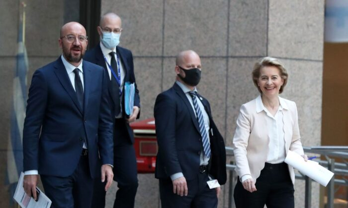 European Council President Charles Michel (L) and European Commission President Ursula von der Leyen (R) arrive to attend a press conference in Brussels on June 22, 2020. (Yves Herman/POOL/AFP via Getty Images)