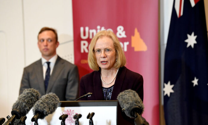 Queensland Chief Health Officer Jeannette Young speaks at a press conference as she gives an update on Queensland COVID-19 Border Controls in Brisbane, Australia on June 30, 2020. (Bradley Kanaris/Getty Images)