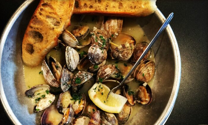 Littleneck clams are the preferred type of clam for this recipe. They are the smallest quahog clam, with sweet and tender meat. (Lynda Balslev for TasteFood)