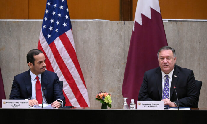 U.S. Secretary of State Mike Pompeo welcomes Qatar's Deputy Prime Minister Mohammed bin Abdulrahman al-Thani to launch the third annual U.S.-Qatar Strategic Dialogue at the State Department in Washington on Sept. 14, 2020. (Erin Scott/Pool/File Photo/Reuters)