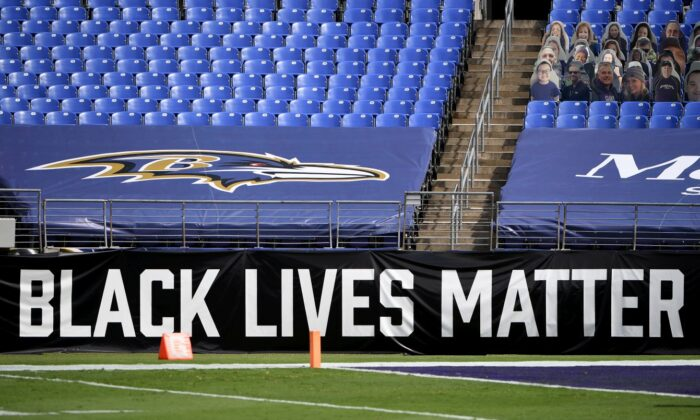 A Black Lives Matter banner is seen prior to the game between the Baltimore Ravens and the Cleveland Browns at M&T Bank Stadium in Baltimore, Maryland, on Sept. 13, 2020. (Will Newton/Getty Images)