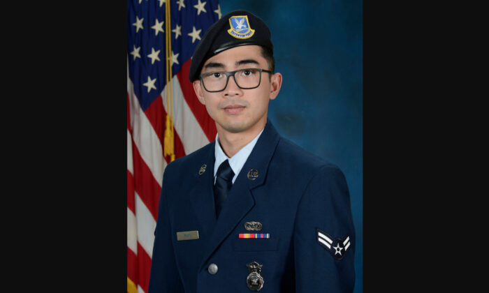 U.S. Air Force Senior Airman Jason Khai Phan, seen here photographed in 2019 as an airman first class, 66th Security Forces Squadron, of Anaheim, Calif., died as a result of non-combat related injuries while conducting a routine patrol outside the perimeter of Ali Al Salem Air Base, Kuwait, on Sept. 12, 2020. (Courtesy of U.S. Air Force)