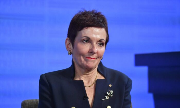 Australian Small Business and Family Enterprise Ombudsman Kate Carnell  at the National Press Club in Canberra, Australia, on July 29, 2020. (AAP Image/Mick Tsikas)