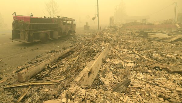 Smoke fills the air in the area of Detroit