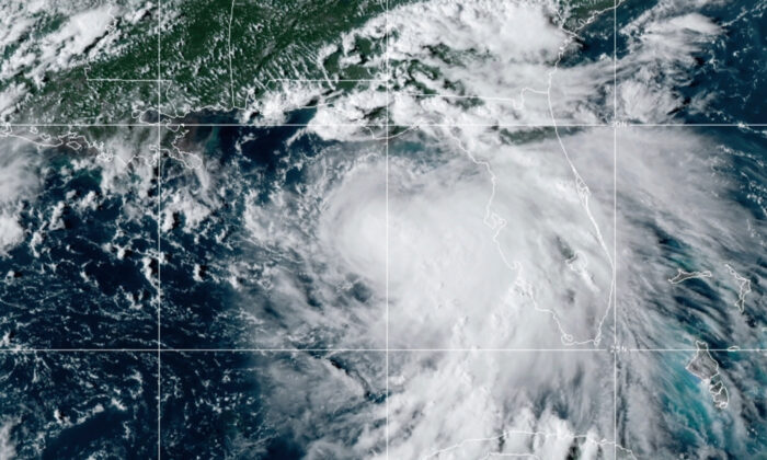 Tropical Storm Sally, at 2050 GMT on Sept. 13, 2020. (NOAA via AP)