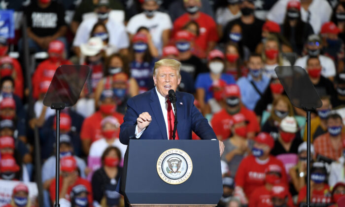 President Donald Trump rallies with supporters at a campaign event in Henderson, Nevada, on Sept. 13, 2020. (Ethan Miller/Getty Images)