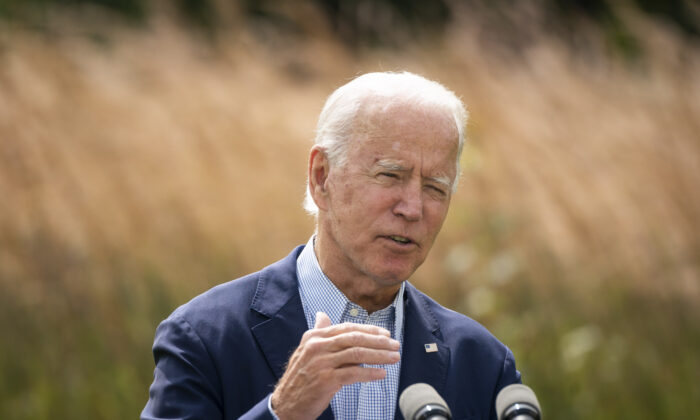 Democratic presidential nominee Joe Biden speaks about climate change and the wildfires on the West Coast at the Delaware Museum of Natural History in Wilmington, Del., on Sept. 14, 2020. (Drew Angerer/Getty Images)