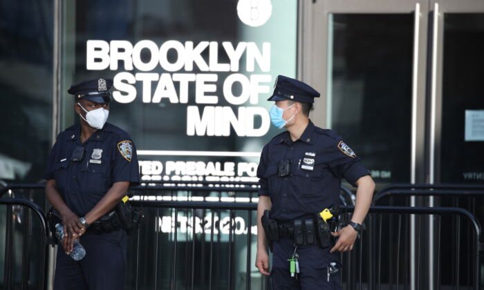 NYPD Officers gather in front of the Barclays Center prior to a protest in Brooklyn, N.Y., on May 29, 2020.  (Justin Heiman/Getty Images)