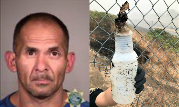 (L) Domingo Lopez Jr. and (R) a Molotov cocktail he allegedly used to start a fire in Portland, Ore., on Sept. 13, 2020. (Multnomah County Sheriff's Office; Portland Police Bureau)