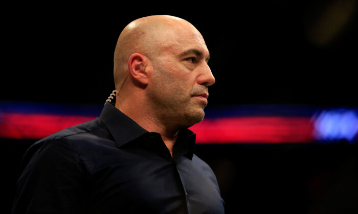 Commentator Joe Rogan looks on during the UFC Fight Night event at Prudential Center in Newark, N.J., on April 18, 2015. (Alex Trautwig/Getty Images)