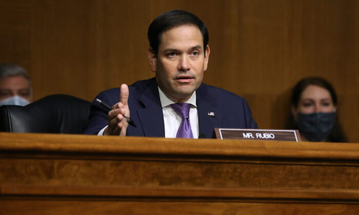 Senate Foreign Relations Committee member Sen. Marco Rubio (R-Fla.) questions witnesses during a hearing about Venezuela in the Dirksen Senate Office Building on Capitol Hill in Washington, on Aug. 04, 2020. (Chip Somodevilla/Getty Images)