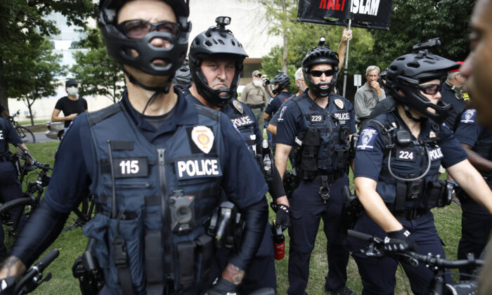 Charlotte-Mecklenberg Police officers at Marshall Park in uptown Charlotte, N.C. on Aug. 24, 2020. (Octavio Jones/Getty Images)