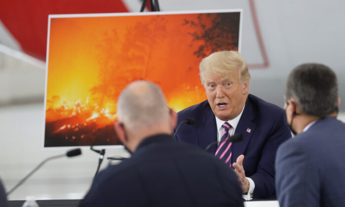 President Donald Trump speaks during a briefing on wildfires in McClellan Park, Calif., on Sept. 14, 2020. (Jonathan Ernst/Reuters)