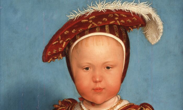 Detail of Edward, Prince of Wales (later Edward VI), circa 1538, by Hans Holbein the Younger and studio. Oil paint on panel; 22 3/4 inches by 17 inches. Promised gift of the Berger Collection Educational Trust. (Denver Art Museum)