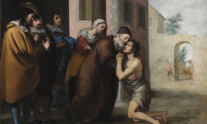 "A detail of ""The Return of the Prodigal Son,"" 1660s, by Bartolome Esteban Murillo. Oil on canvas; 41 1/8 inches by 53 inches. Presented by Sir Alfred and Lady Beit, 1987. Beit Collection. (National Gallery of Ireland)"