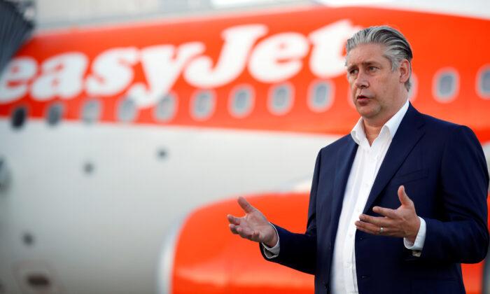 EasyJet CEO Johan Lundgren gestures as he talks to media at Gatwick Airport, UK, on June 15, 2020. (Peter Cziborra/Reuters)