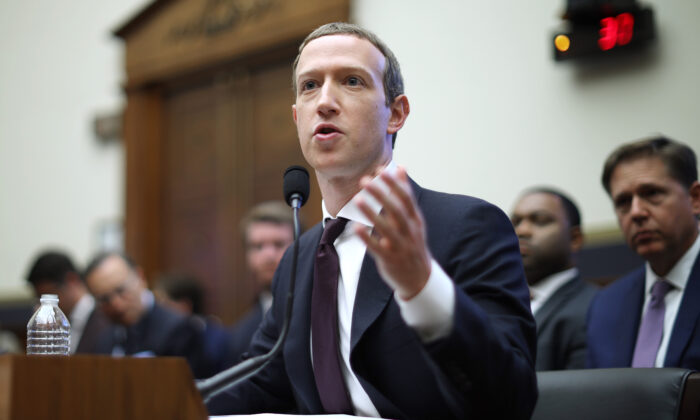 Facebook co-founder and CEO Mark Zuckerberg testifies before the House Financial Services Committee in the Rayburn House Office Building on Capitol Hill in Washington on Oct. 23, 2019. Zuckerberg testified about Facebook's proposed cryptocurrency Libra, how his company will handle false and misleading information by political leaders during the 2020 campaign, and how it handles its users' data and privacy. (Chip Somodevilla/Getty Images)