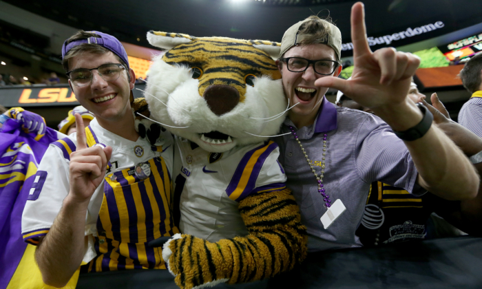 LSU Tigers fans cheer during the third quarter against Clemson Tigers in the College Football Playoff National Championship game at Mercedes Benz Superdome in New Orleans, Louisiana, on Jan. 13, 2020. (Jonathan Bachman/Getty Images)