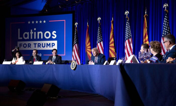 President Donald Trump speaks during a roundtable rally with Latino supporters at the Arizona Grand Resort and Spa in Phoenix, Arizona, on Sept. 14, 2020. (Brendan Smialowski/AFP via Getty Images)