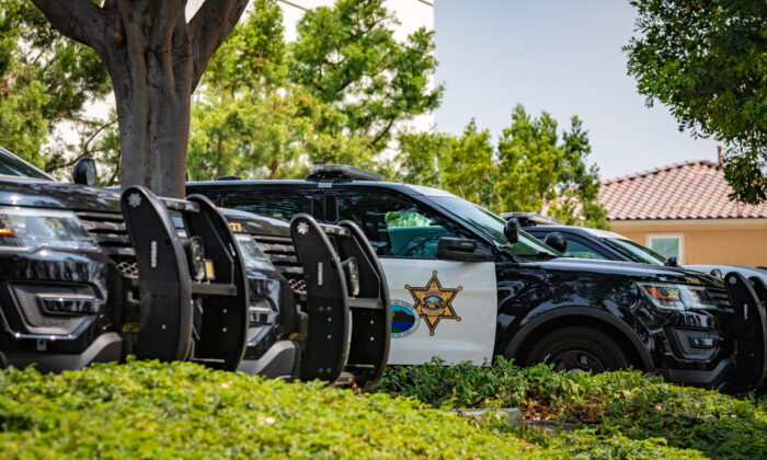 Orange County Sheriff's Department vehicles are parked outside the Saddleback Station in Lake Forest, Calif., on Sept. 14, 2020. (John Fredricks/The Epoch Times)