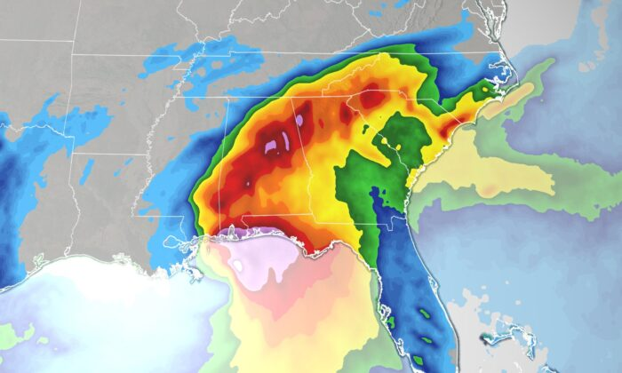 """Hurricane Sally could possibly cause historic flooding """"with extreme life-threatening flash flooding likely through Wednesday,"""" the National Hurricane Center says. (Credit: CNN)"""